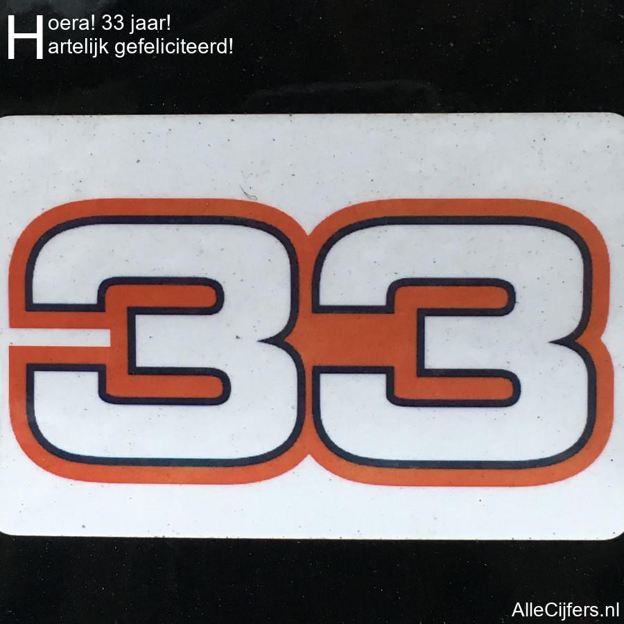 Hedendaags Hoera 33 jaar! Felicitatie afbeelding. (update 2020!)   AlleCijfers.nl UJ-24